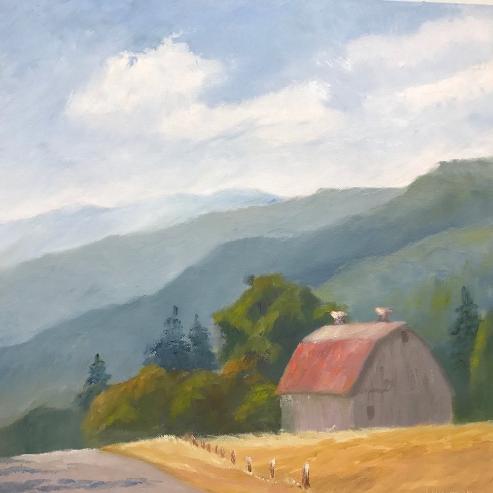 "Grey Barn with Cupolas | 12""x12"""
