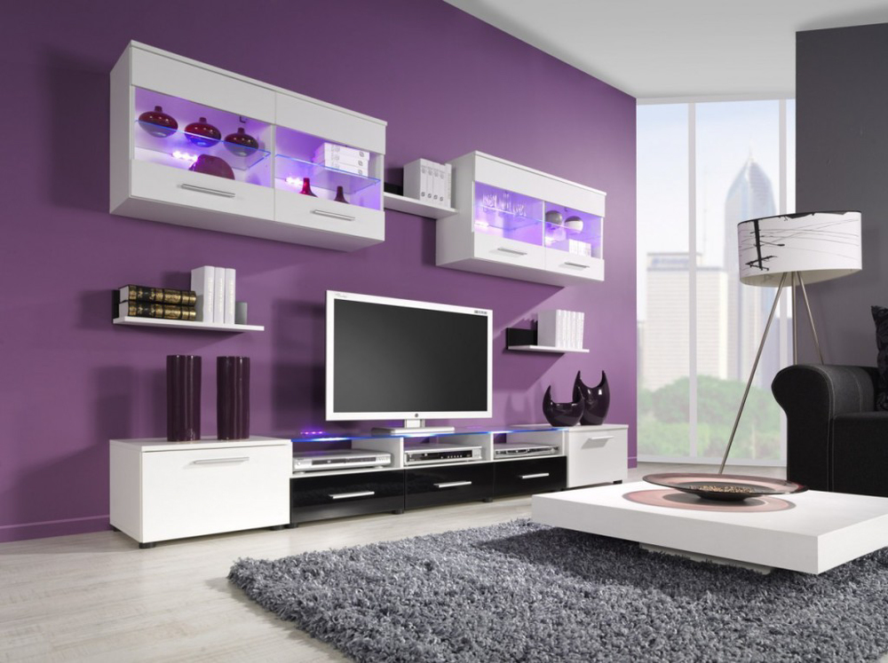 Vibrant purple living room wall