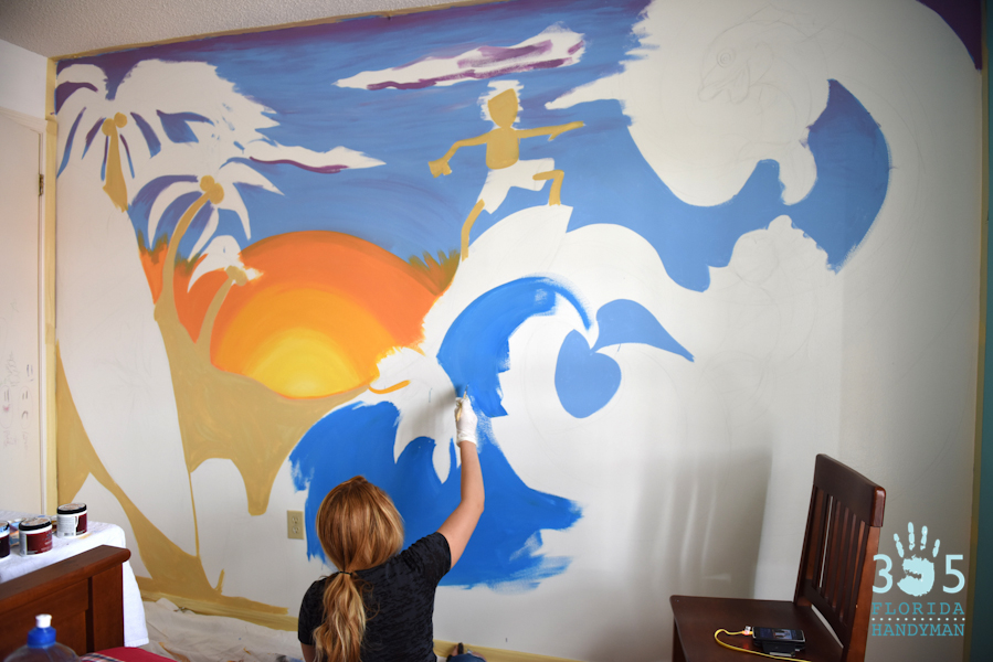 Surfing Wall Mural coming together