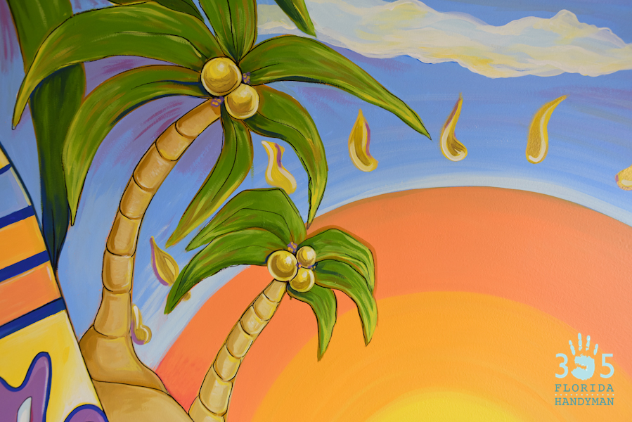Surfing Wall Mural Palm Tree