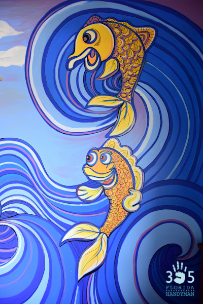 Surfing Wall Mural Happy Fish