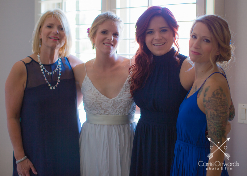 Mom, bride, and sisters all dolled up!