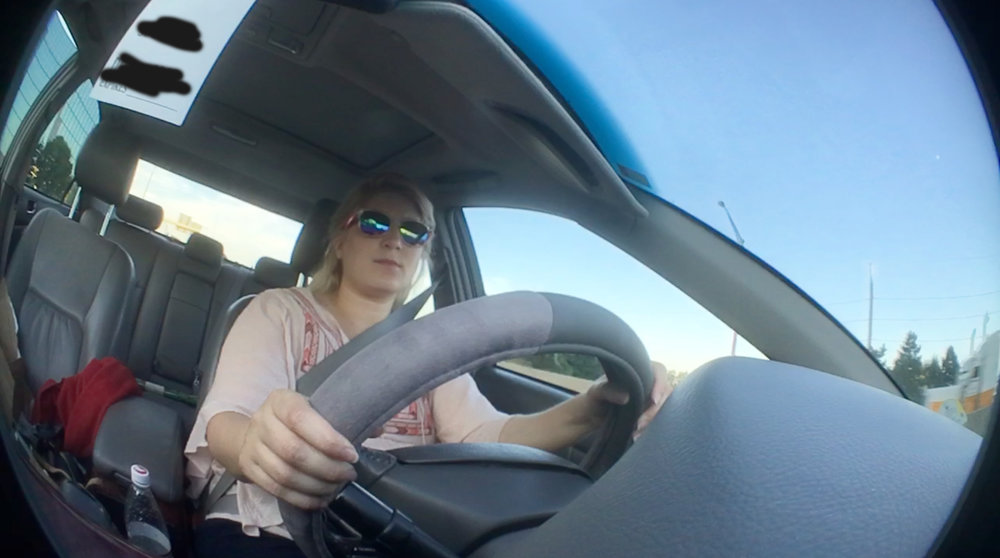 This is using the fisheye olloclip with the extra pedestal holder taped onto the dashboard.