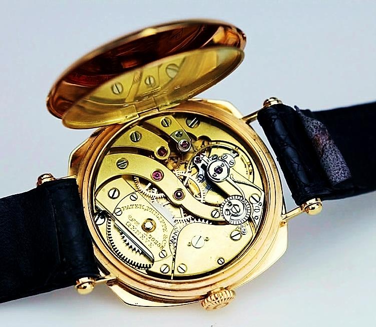 OBEN:  Werkansicht hochwertige  Patek Philippe & Cie.  -  Armbanduhr , um 1920, mit dem Gleichgewichtsanker und einer Excenter-Feinreglage  Photo: Matthiew Bain Inc., 1680 Michigan Ave., #1015, Miami Beach, FL 33139 USA