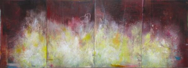 "Lunar Waves , oil, mixed medias on panels, 36"" x 92"", 2018"