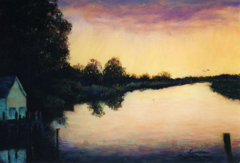 This seascape of the Lake Leelanau Narrows  from 1998 hung in the chiropractic office of Dr. Marie Genna in that town for years. She has since retired, and I'm not sure where it is now. I don't have a good enough image of it to create prints, but I'll track it down and get it photographed again, if a few of you want them.