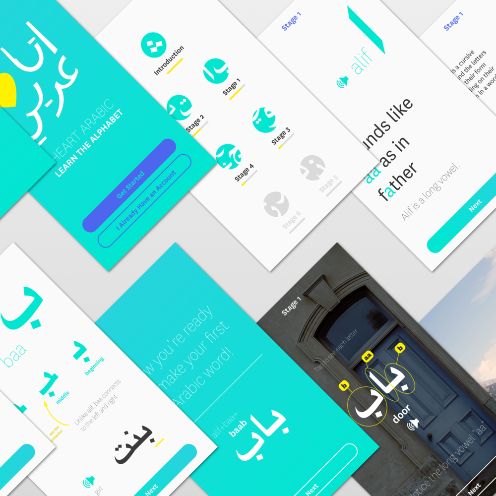 UX Design I wanted to create an app that would make learning Arabic inspiring, and challenge the negative assumptions made about the Middle East. See the process