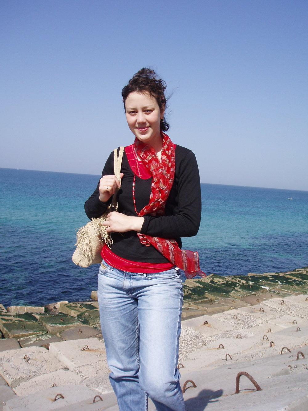 avec le collier rouge, la seule photo où on le voit -quelque part, au bord de la baie d'Alexandrie