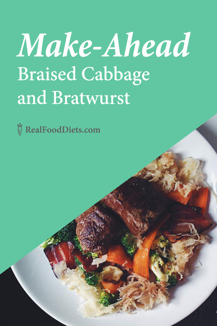 This make-ahead meal is filling, healthy, paleo, and delicious! Braised cabbage and bratwurst along with carrots, sauerkraut and mushrooms make a hearty meal that is still great for clean eating and real food diets. Perfect for St. Patricks Day or Oktoberfest. @realfooddiets