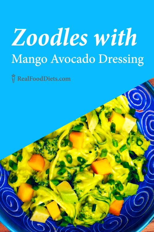 Zoodles with mango avocado dressing two ways raw food promotes a great clean eating recipe made with spiralized zucchini zoodles drizzled with mango avocado dressing forumfinder Images
