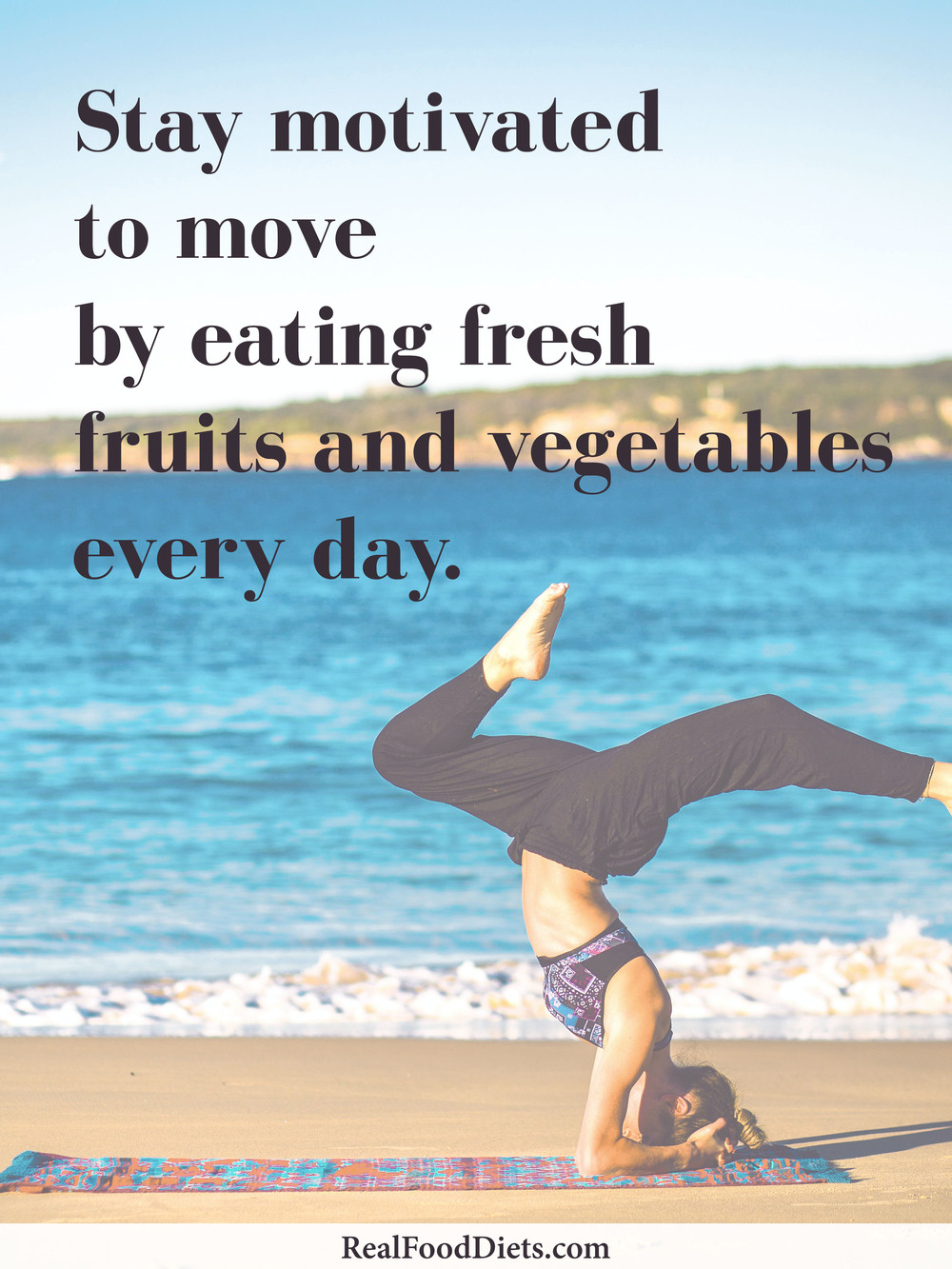 Stay motivated to move your body! — Alyse eats a raw vegan diet composed of fresh fruits and vegetables. Click to read about her secret to a healthy and sexy physique on @realfooddiets — fitness motivation, workout inspiration, exercise quotes