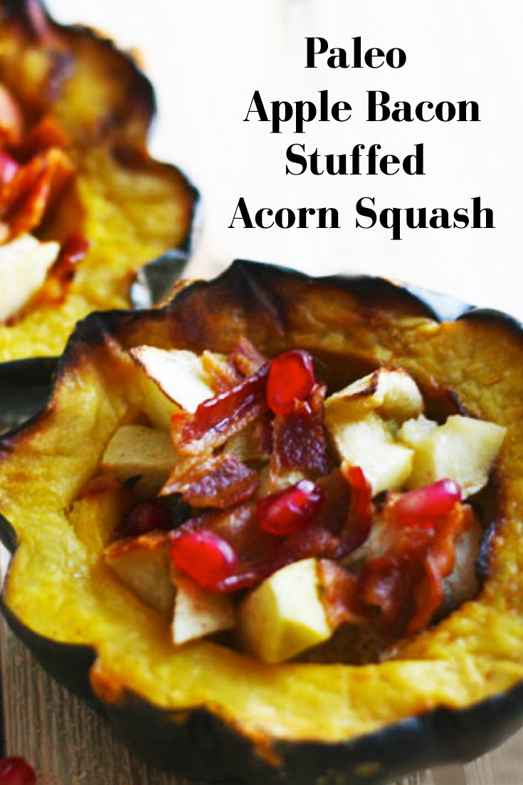 Stuffed acorn squash is a classic fall recipe. In this naturally sweetened version, you'll find the perfect combination of apples and bacon for a sweet fall harvest flavor. //Paleo fall recipes and AIP fall recipes.