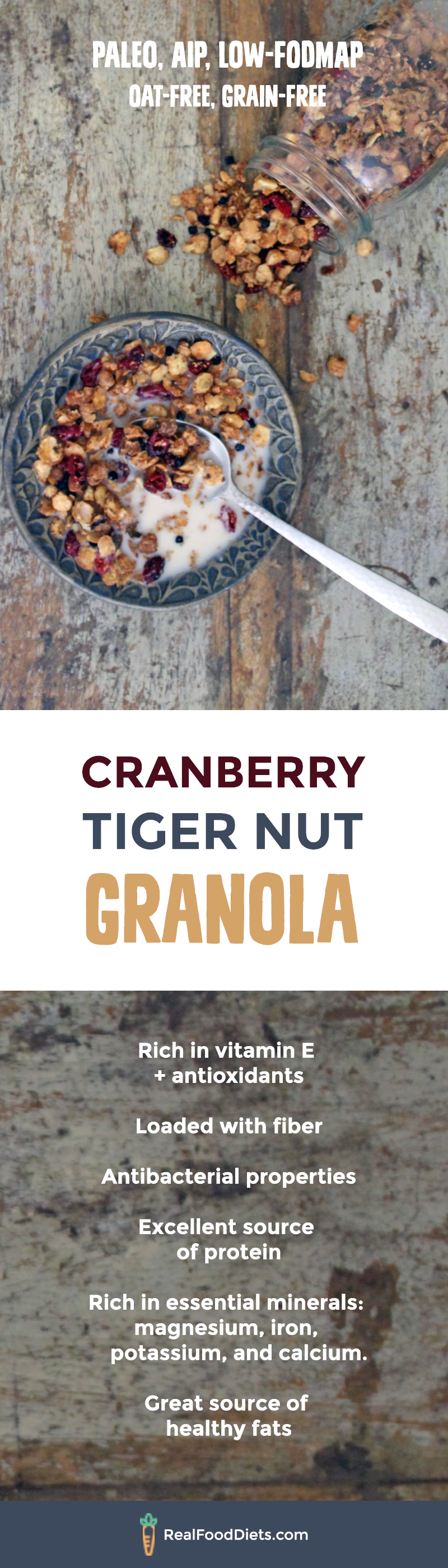 This oat free granola is sweet, crunchy, and oh so nourishing, even more so when doused in homemade tiger nut milk. You can follow the recipe to make the crunchy tiger nut base and then pretty much add in any other ingredients that take your fancy! //Safe for paleo, aip (autoimmune protocol), and low fodmap diets and is grain free and gluten free.