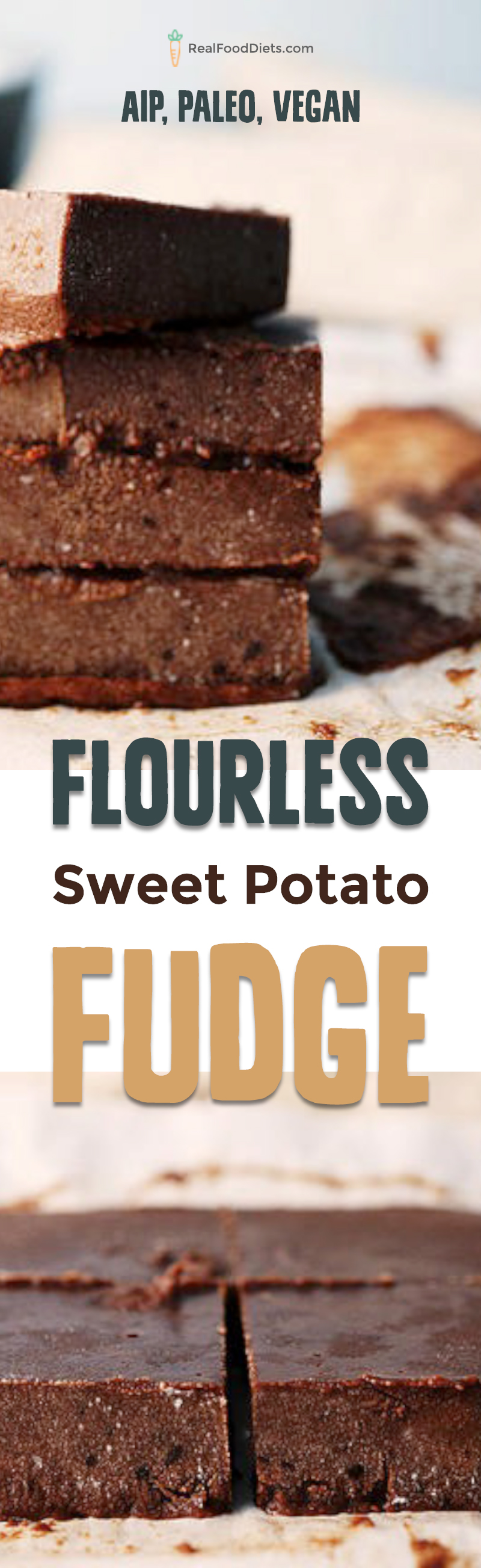 AIP sweet potato fudge that is smooth, creamy and rich made with carob instead of chocolate and sweetened with honey. Autoimmune protocol friendly and Paleo. @realfooddiets