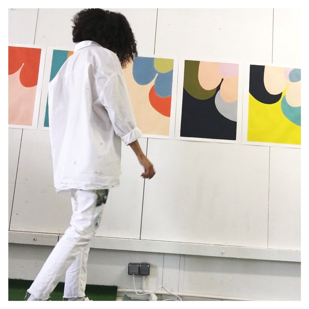 Raphaële Anfré painting in the studio