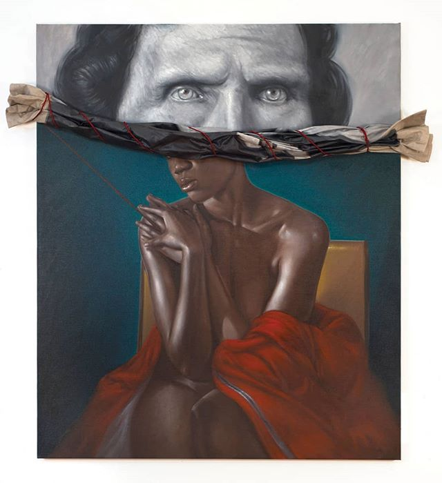 """Titus Kaphar, a black American artist, uses a variety of mediums to highlight history's erasure of black people and the hypocrisy of American and European """"heroes"""". In his latest exhibit he uses paintings of America's founding fathers contrasted against nudes of black women to remind us of the dynamics of relationships like Sally Hemming and Thomas Jefferson. He also tackles current topics in his art like mass incarceration and ongoing protests. . . . . . . . #panafrique #panafrican #artist #art #blackisbeautiful #afropolitan #afro #melaninpoppin #melanin  #orgulhonegro #buyblack #blackmodel #RepresentationMatters #femmenoire #belezanegra #cacheadas #blackcreatives #afrolatina #sernegroeshermoso #melanine #melanina #portrait #blackartist"""