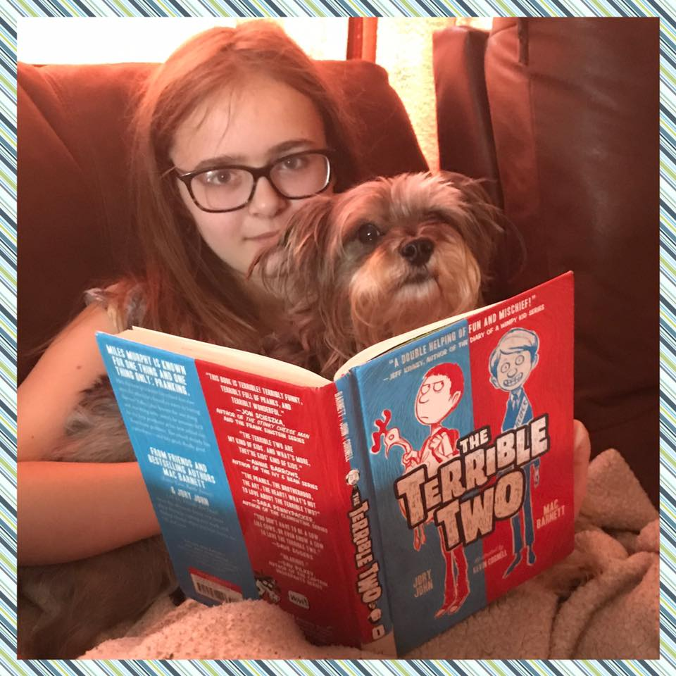 Reading with my dog, Shack.