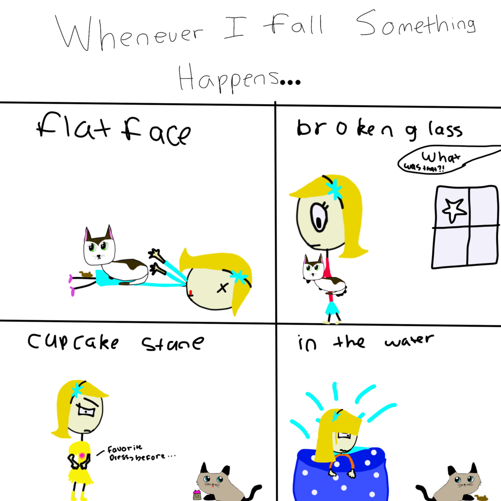 Falling Problems:   I drew this drawing because a person who was coming over to my house liked drawing comics. After I heard that, I wanted to draw a funny comic. It took a long time but finally, I did this! Did you notice that the cats are always in the scene when she falls? Is it their fault that the girl is falling?  - Aeva Meijer