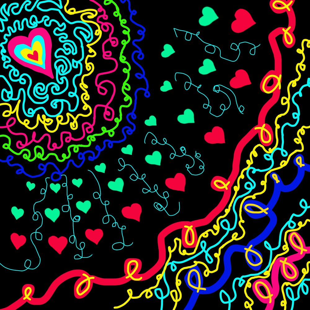 Beautiful Love   One day my mom said that she wanted me and my sisters to draw designs for some tetowls. My mom wanted them to be very pretty, so I did! Hearts are my favorite shape so I did lots of them in my design! Then I did lots of swirls, because I have a bit of passion for swirl. I was very proud when I was finished, and my mom was very happy too. Hip hip hooray!  - Aeva Meijer