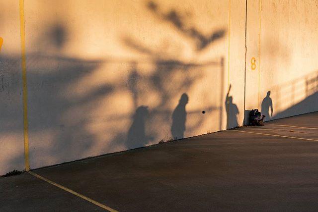 Shadows of handball players on the famous courts of Brighton Beach, New York (also nicknamed Mekka of handball).