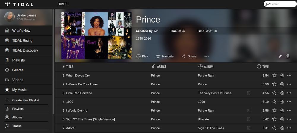 tidal playlist prince