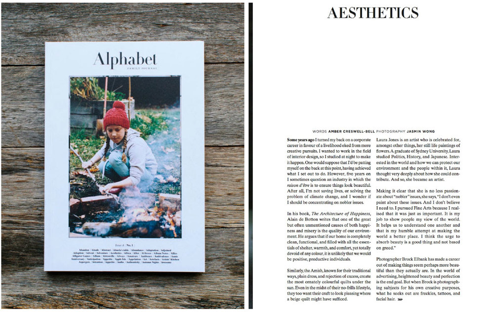 Article in  Alphabet  by Amber Creswell Bell.