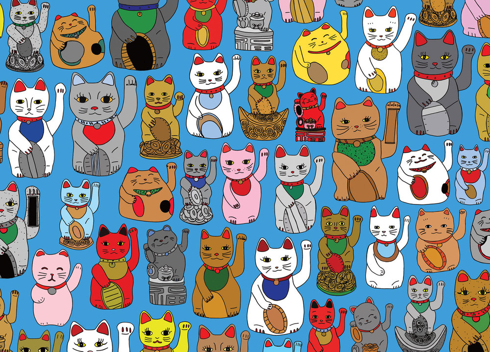 TEGAN IVERSEN for AHD PAPER CO. 'Lucky Cats' 2016 (available as a greeting card and wrapping paper)