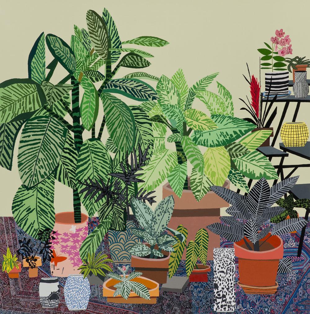Blue Rug, Still Life  by Jonas Wood (2014)