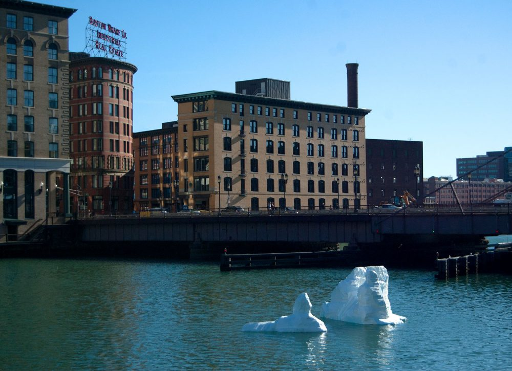 "Gianna Stewart's ""Iceberg"" in Boston's Fort Point Channel. (Greg Cook/WBUR)"