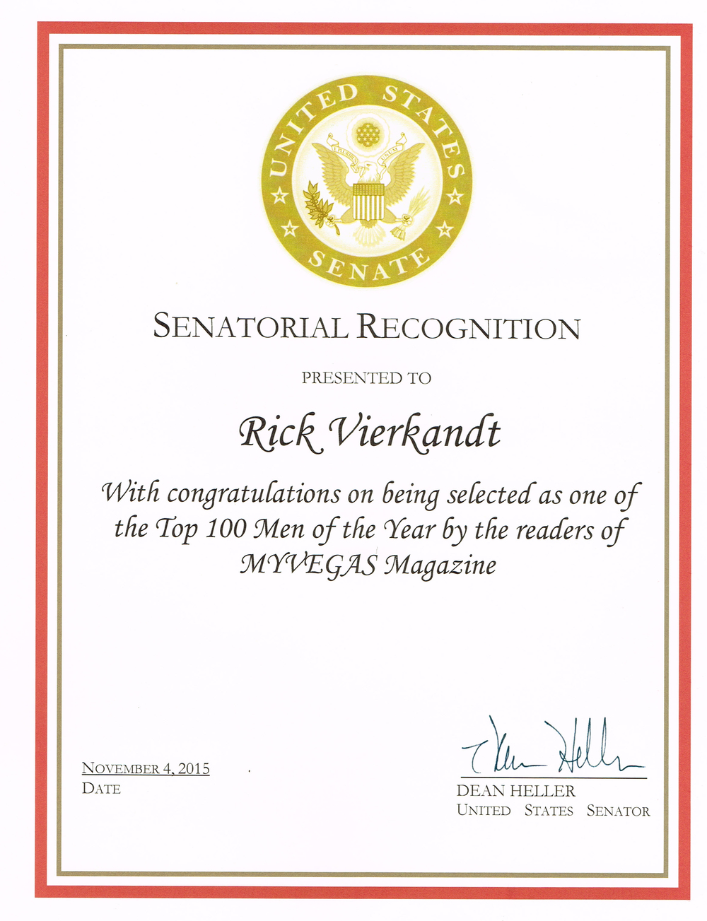 Senatorial Recognition- Dean Heller