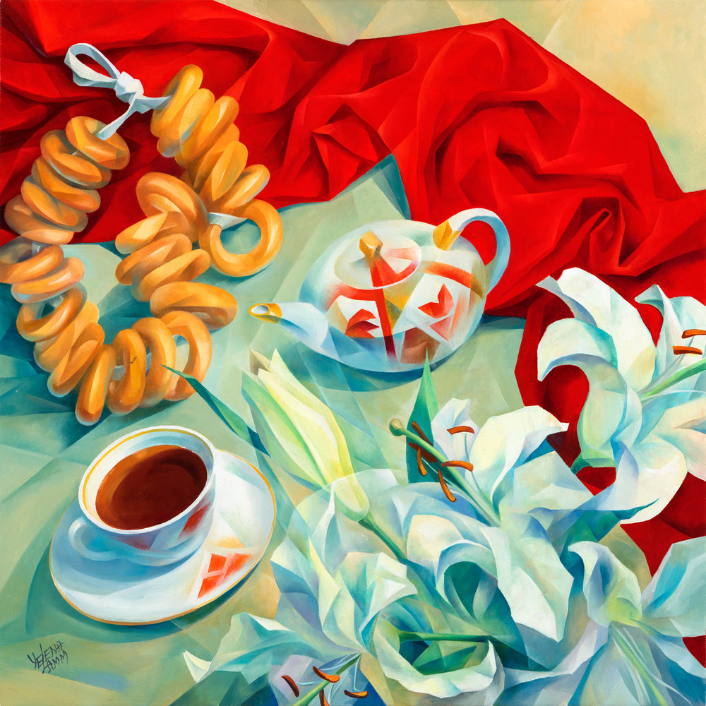 "Russian Tea Oil on Canvas, 24""x24"", 2016"