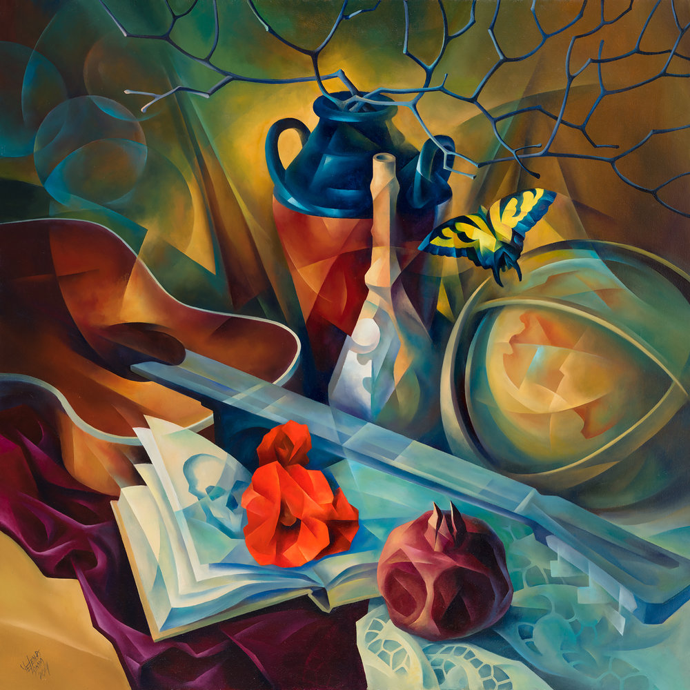 "Vanitas Motif Oil on Canvas, 40""x40"", 2014"