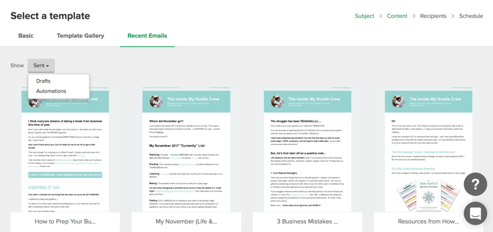 MailerLite Reivew - Recent Email Templates.png