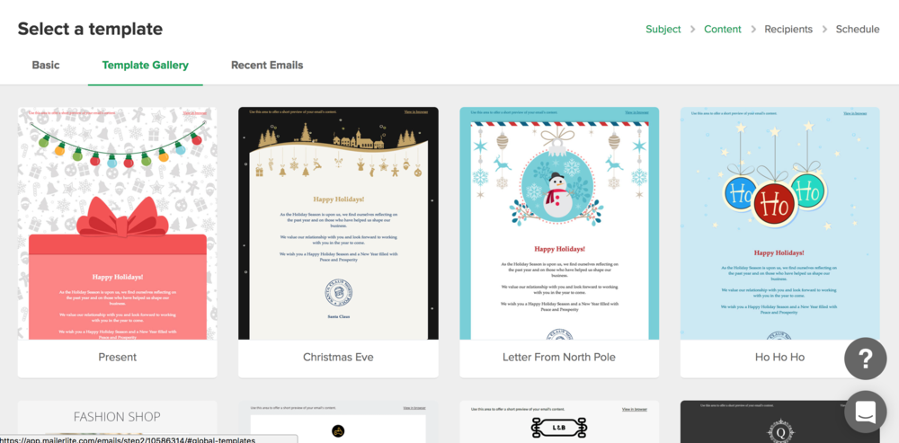 MailerLite Reivew - Email Template Gallery Holiday Themed.png