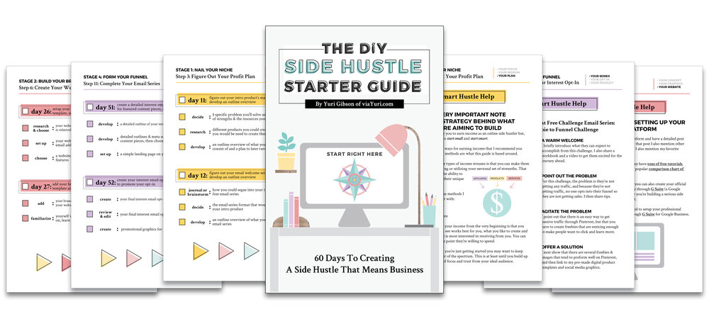 What's Inside: The DIY Side Hustle Starter Guide by Yuri Gibson of viaYuri.com