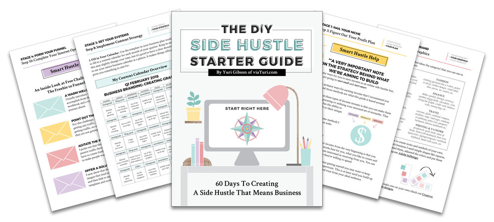 The DIY Side Hustle Starter Guide featured in 5 Lessons Learned from Launching My First Book || Yuri Gibson of viaYuri.com
