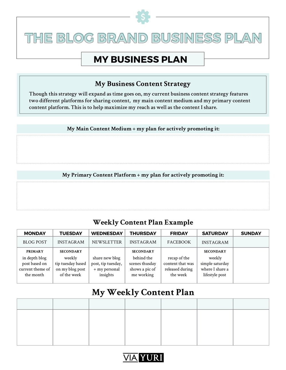 Weekly Content Plan Worksheet || The Side Hustle Quickstart Roadmap Free Course Worksheets | viaYuri.com