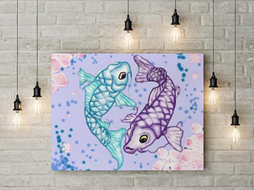 Koi fish digital illustraton