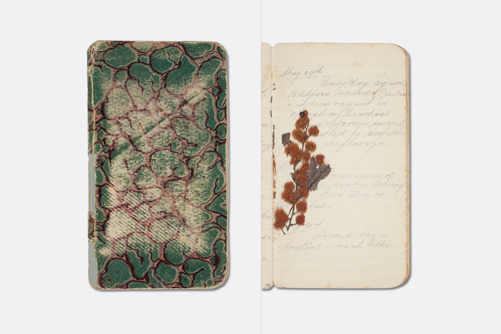 James Brunton Gibb war diary, 19 March-13 June 1916. The diary includes a summary of movements with the A.I.F. from enlistment 13 July 1915-23 Dec 1916. A Wills 'War Incidents' cigarette card and pressed wattle, pansy and poppy flowers are inserted between the pages. Image via the Mitchell Library, State Library of New South Wales.