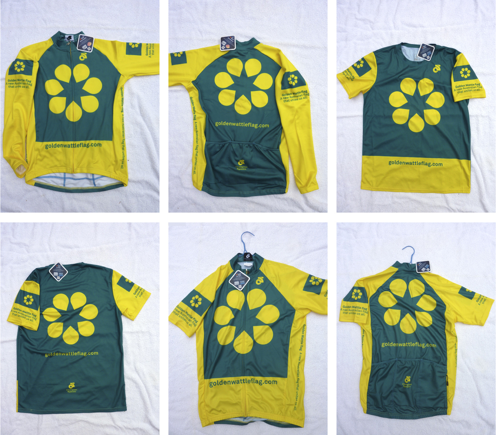 Cycling jerseys made by a supporter in Canberra.