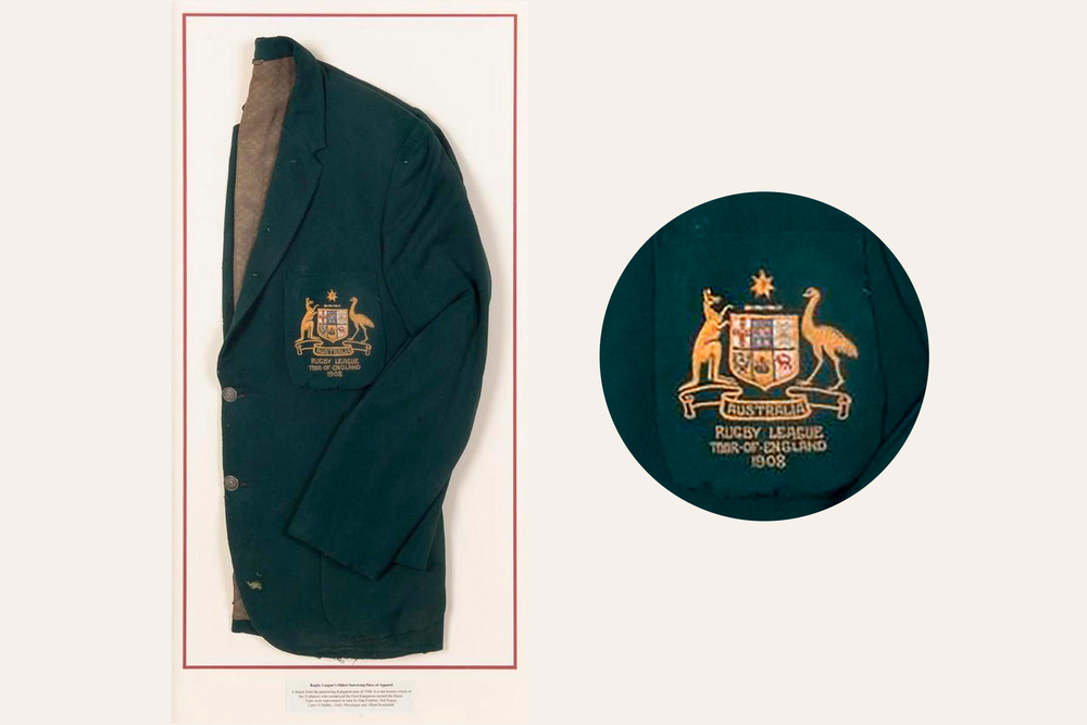 Australian national Rugby League team blazer from First Kangaroo Tour of England in 1908. The blazer is considered to be Rugby League's oldest surviving piece of apparel. Image courtesy of Moss Green.