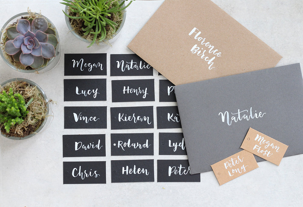 Brush lettering calligraphy