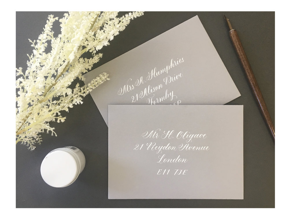 Copperplate calligraphy on envelopes