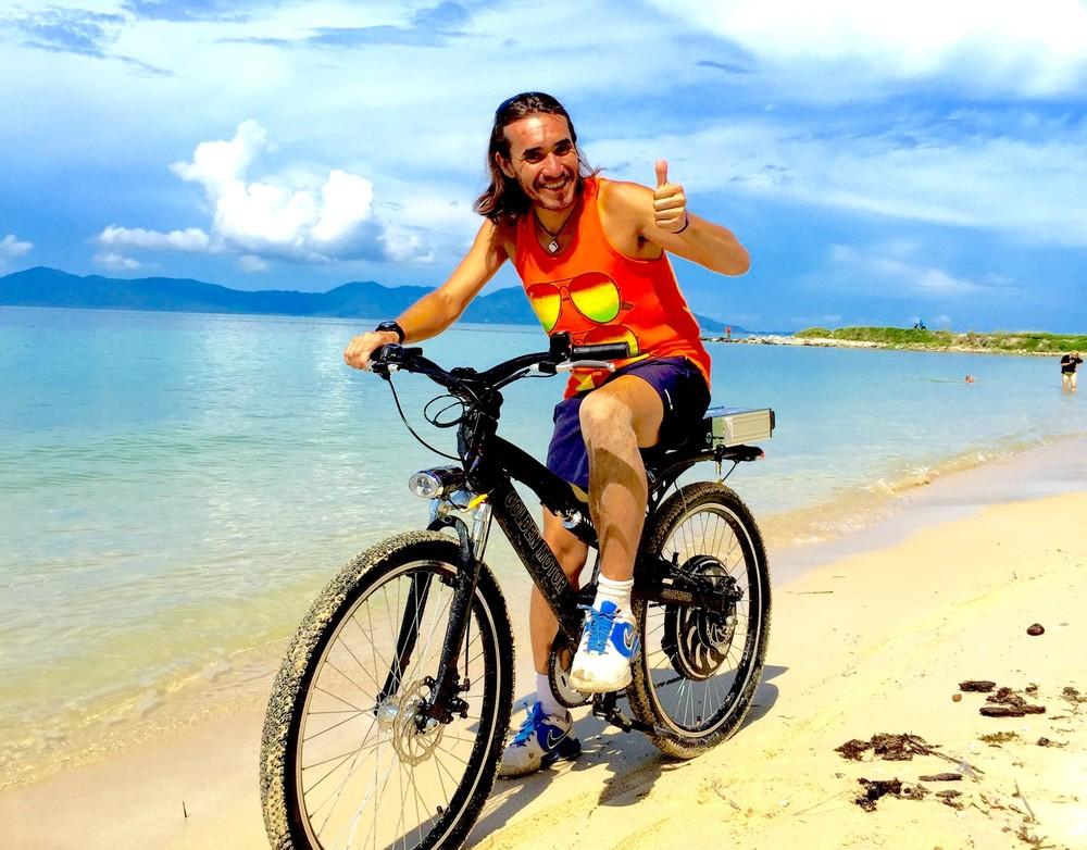 Happy Rental Customer on Electric Bike