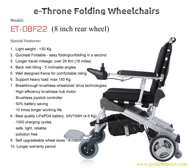 ET-08F22 E-Throne Electric Wheelchair Golden Motor Thailand