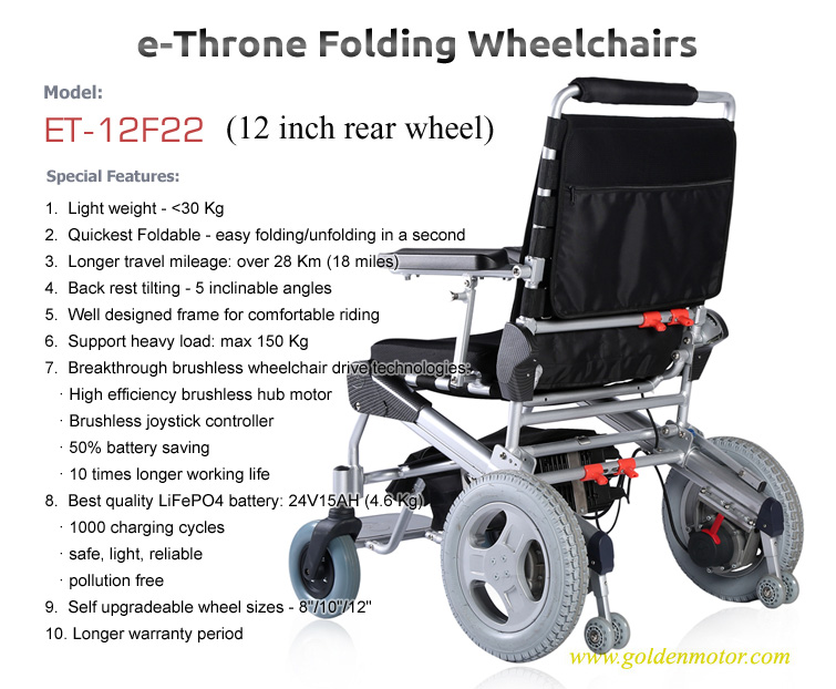 ET-12F22 Electric Wheel Chair Golden Motor Thailand