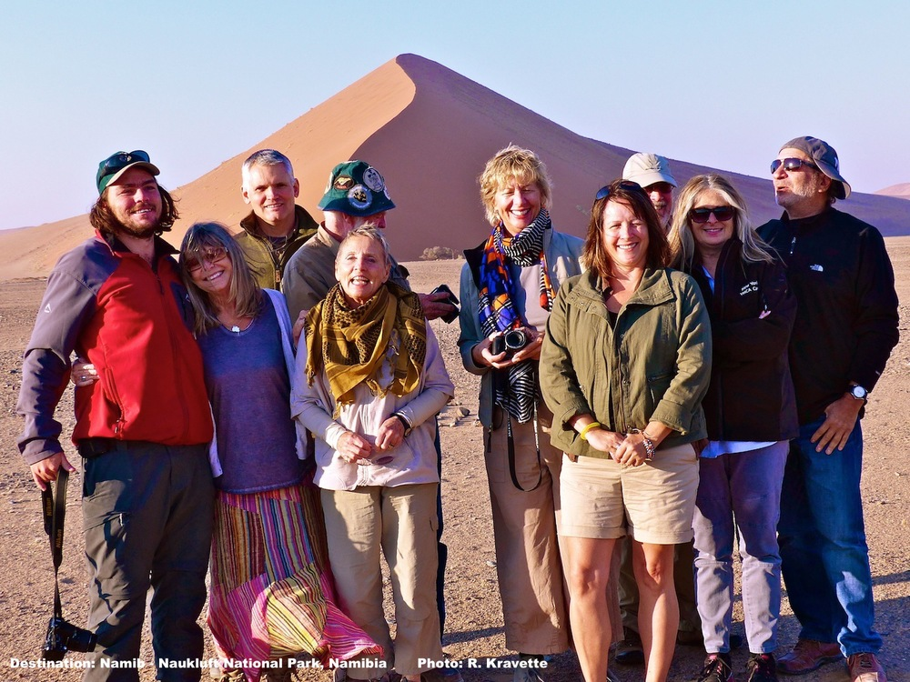 Early morning. Our group of intrepid travlers at the entrance: Mark Cronje our Field Guide for this adventure, Wendy, Les, Brian Gaisford, owner of  Hemingway Safaris , Diane, Pam, Gina, Ray, Connie, & Gary IMAGE: ©R.KRAVETTE