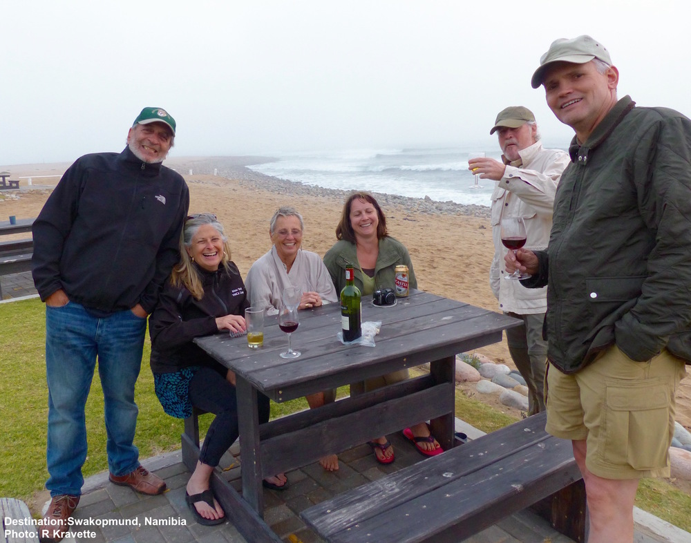 Turns out all of us, grazers, Nature-ists, and enthusiasts, are like-minded on the issue of the sundowner. the rest of the gang was right behind us. Swakopmund, Namibia. Image: ©R. Kravette