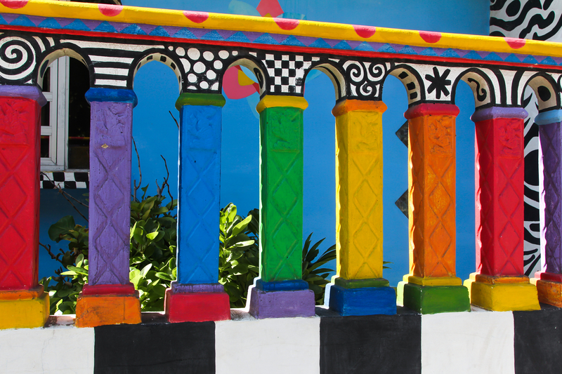 "Detail of the ""Crayola House"".  Explore Isla Mujeres on foot. The architecture reflects the playful yet thoughtful nature of its people. Image:  ©Triciadaniel⎮Dreamstime.com"