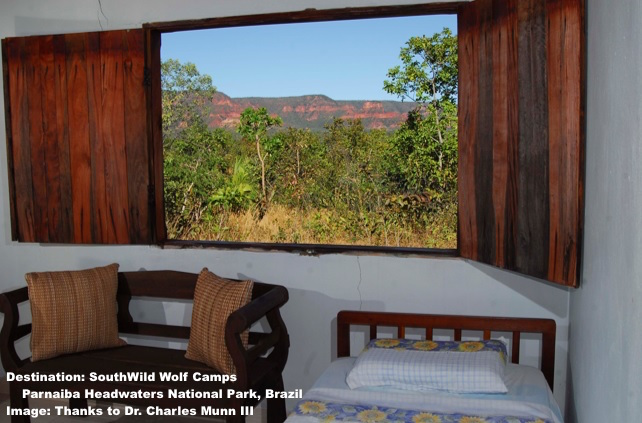 YOUR MORNING VIEW FROM THE WINDOW AT WOLF CAMPS, PARNAIBA HEADWATERS NATIONAL PARK. PHOTO: DR. CHARLES A. MUNN III AND SOUTHWILD WOLF CAMPS.